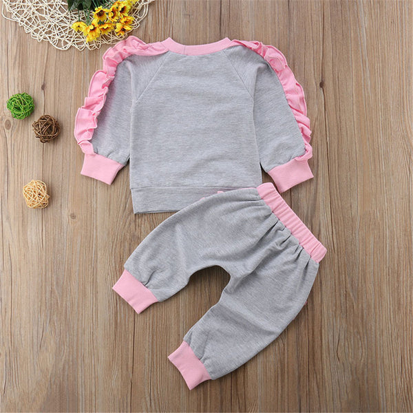 Toddler Girls Crew Neck Ruffle Long Sleeve Top & Pants Wholesale Girls Clothes
