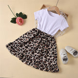 Girls Crew Neck Short Sleeve Leopard Splicing Dress Toddler Girls Wholesale