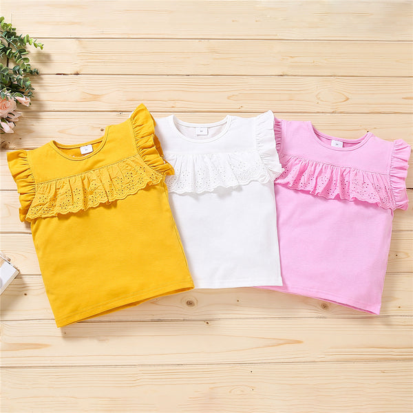 Girls Crew Neck Short Sleeve Ruffled Hollow Out Tops children clothing vendors