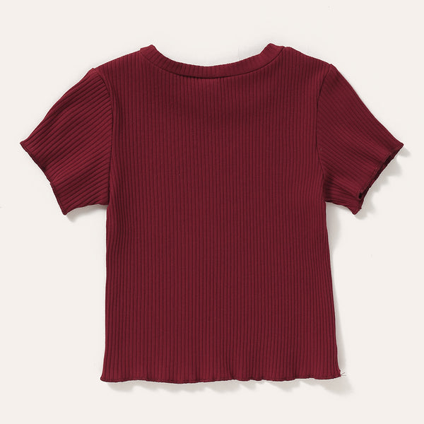 Girls Crew Neck Short Sleeve Solid Top Wholesale Boutique Kid Clothing