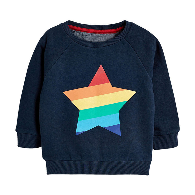 Boys Crew Neck Star Printed Long Sleeve Jumpers