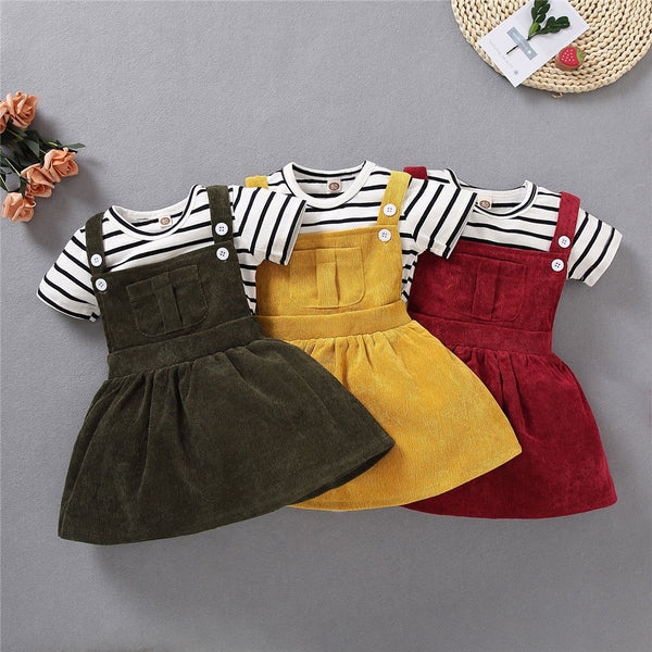 Girls Crew Neck Striped Short Sleeve Top & Suspender Dress cheap girls boutique clothes