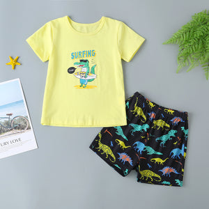 Boys Crocodile Letter Print Tee & Shorts
