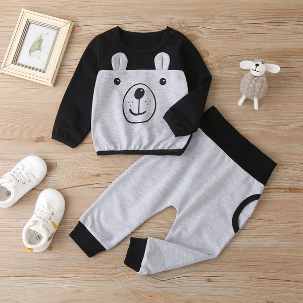 Baby Boys Cute Bear Printed Color Contrast Long Sleeve Top & Pants Baby Clothes Wholesale Bulk