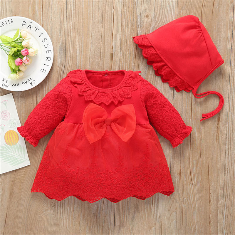 Baby Girls Cute Bow Long Sleeve Dress & Hat