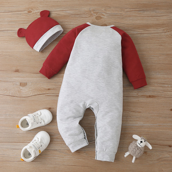 Baby Boys Cute Cartoon Bear Long Sleeve Romper & Hat Baby Boutique Wholesale
