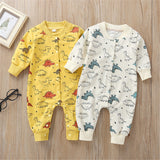 Baby Cute Cartoon Dino Printed Long Sleeve Rompers