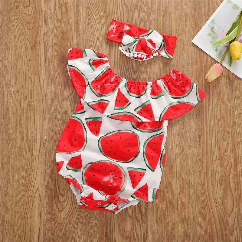 Baby Girls Cute Cartoon Printed Collar Romper & Headband Bulk Baby Clothes For Sale