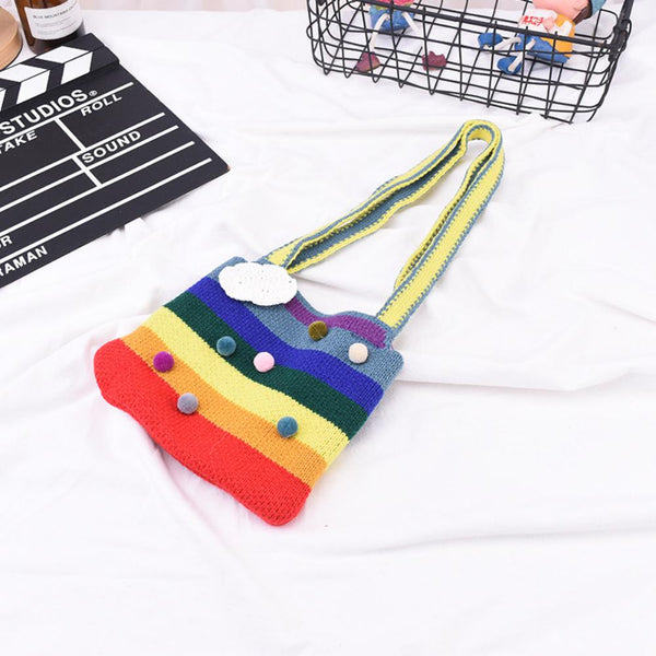 Cute Cloud Children's Knitted Bag Children's Bags Wholesale