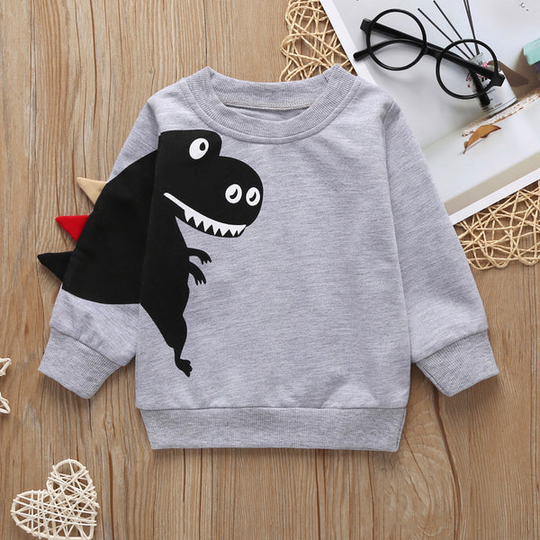 Boys Cute Dinosaur Long Sleeve Tops