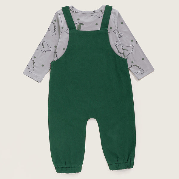 Baby Boys Cute Dinosaur Printed Romper & Solid Overalls Cheap Bulk Baby Clothes