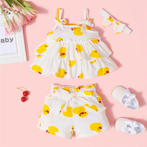 Baby Girls Cute Duck Cartoon Printed Sling Top & Shorts Wholesale Baby Clothes