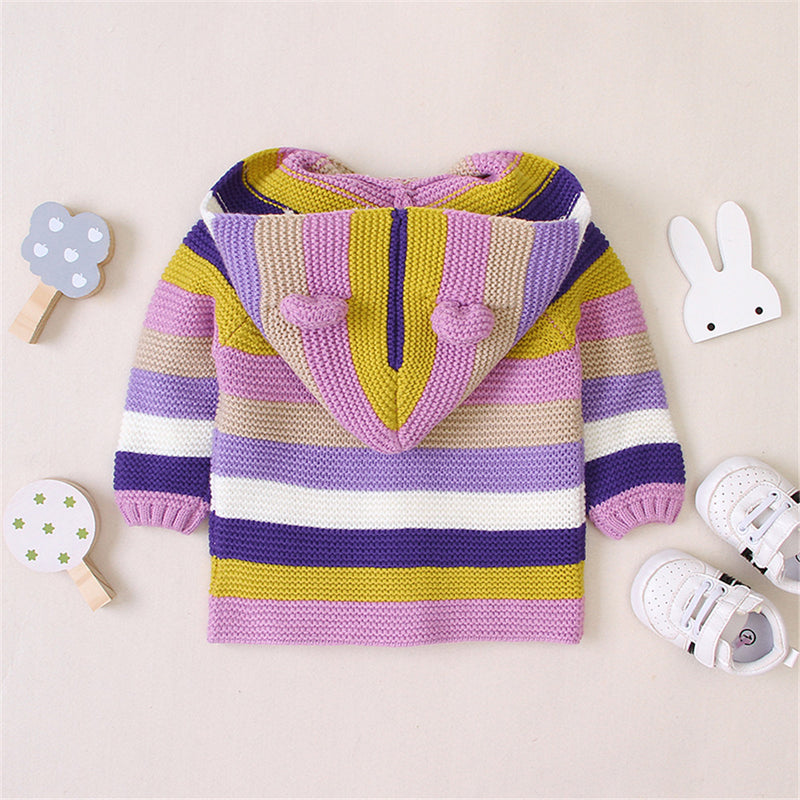 Baby Cute Ear Knitted Striped Hooded Sweaters