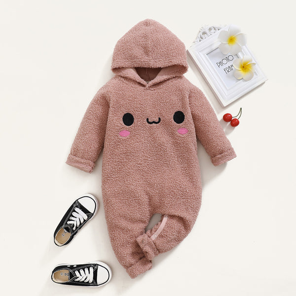 Baby Unisex Cute Hooded Long Sleeve Warm Romper Baby Boutique Clothes Wholesale
