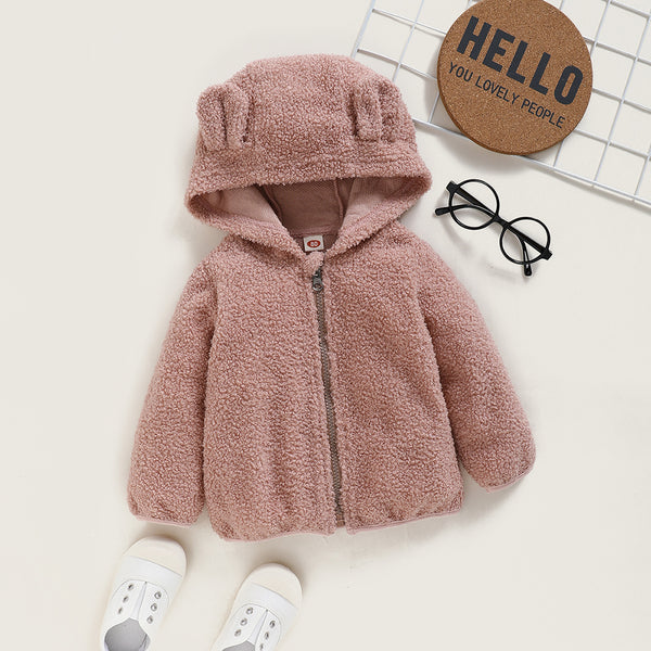 Baby Girls Cute Hoodie Long Sleeve Solid Color Zipper Jacket Baby Clothing Cheap Wholesale