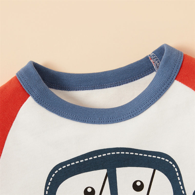 Boys Cute Long Sleeve Car Printed T Shirts