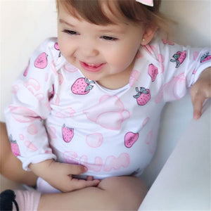 Baby Girls Cute Strawberry Printed Long Sleeve Pomper