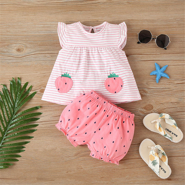 Baby Girls Cute Striped Cartoon Polka Dot Printed Sleeveless Top & Shorts Cheap Boutique Baby Clothes