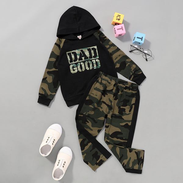 Boys Dad Good Camo Printed Hooded Long Sleeve Top & Pants Wholesale Kids
