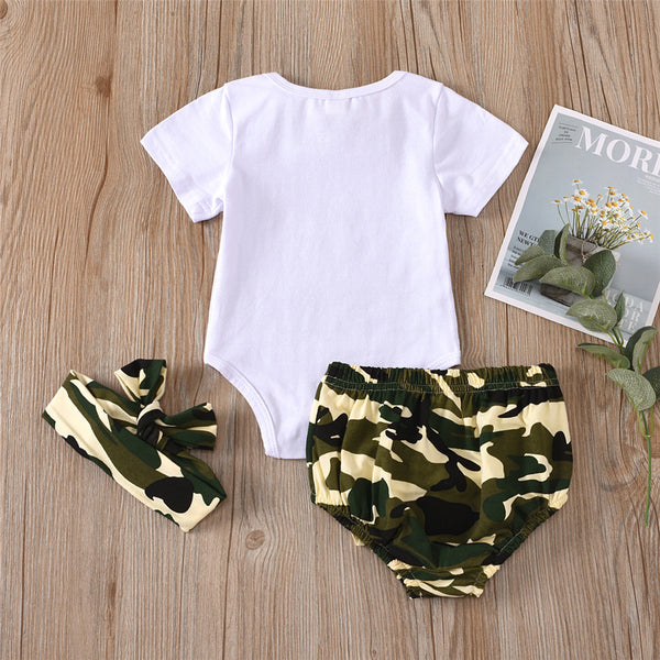 Baby Girls Daddy Is My Hero Camo Printed Short Sleeve Romper & Shorts & Headband wholesale baby items