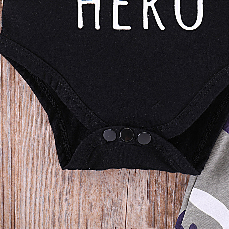 Baby Boys Daddy Is My Hero Short Sleeve Romper & Camo Pants & Hat Baby Wholesale Suppliers