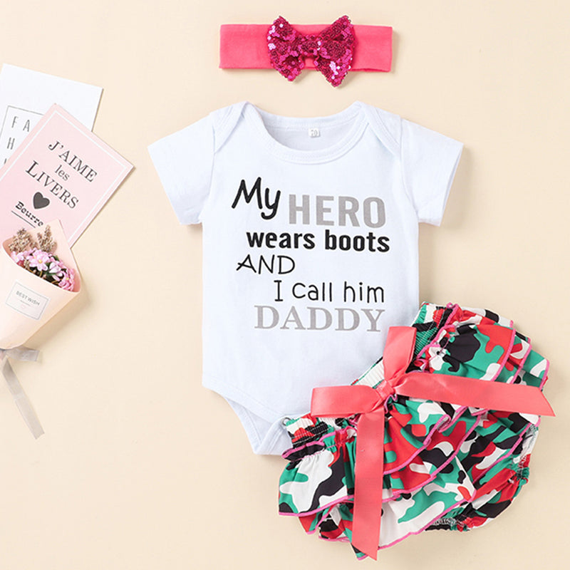 Baby Girls Daddy My Hero Letter Printed Short Sleeve Romper & Shorts & Headband Baby Wholesale