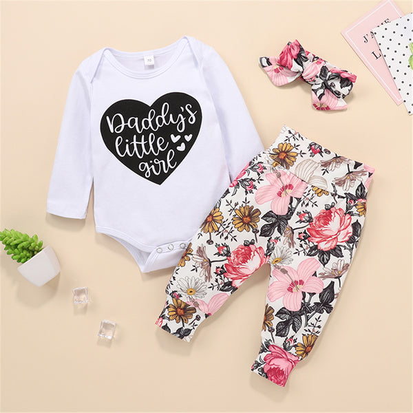 Baby Daddy's Little Girl Long Sleeve Romper & Floral Printed Pants & Headband Baby Outfits