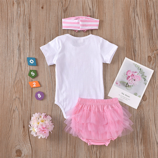 Baby Girls Daddys Little Princess Short Sleeve Romper & Tutu & Headband wholesale infant clothing