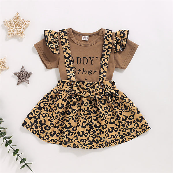 Baby Girls Daddys Other Chick Letter Leopard Printed Romper & Suspender Skirt Wholesale Baby Clothes