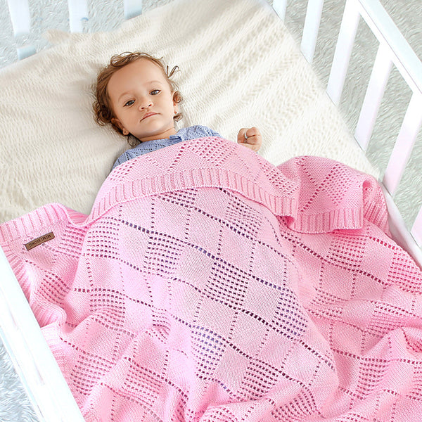 Baby Daily Knitted Solid Color Hollow Out Baby Blanket Wholesale