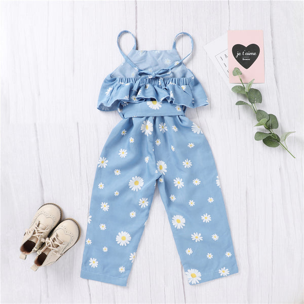 Girls Daisy Printed Sleeveless Jumpsuit Wholesale Baby Girl Boutique Clothing