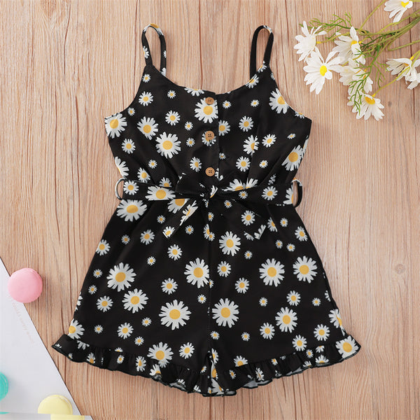 Girls Daisy Printed Sling Jumpsuit kids wholesale clothing