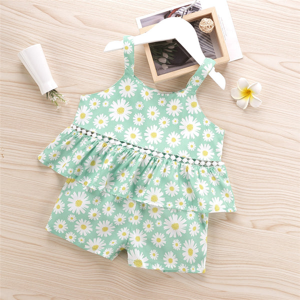 Girls Daisy Printed Sling Top & Shorts cheap girls boutique clothes
