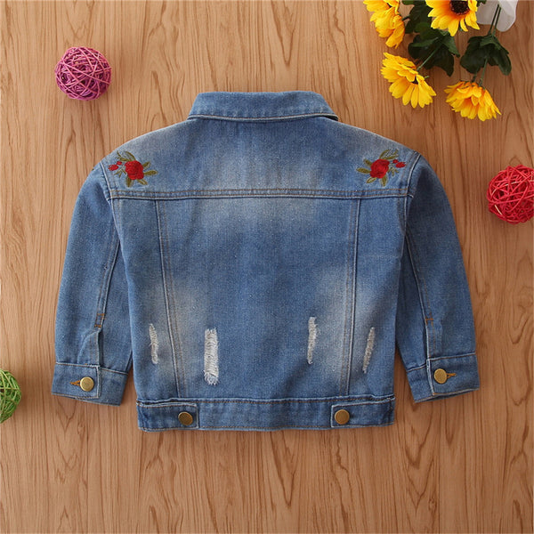 Girls Denim Embroidered Lapel Long Sleeve Jacket Toddler Wholesale