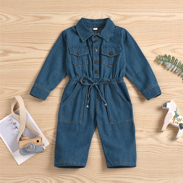 Girls Denim Lapel Long Sleeve Pocket Jumpsuit Wholesale Girl Clothing