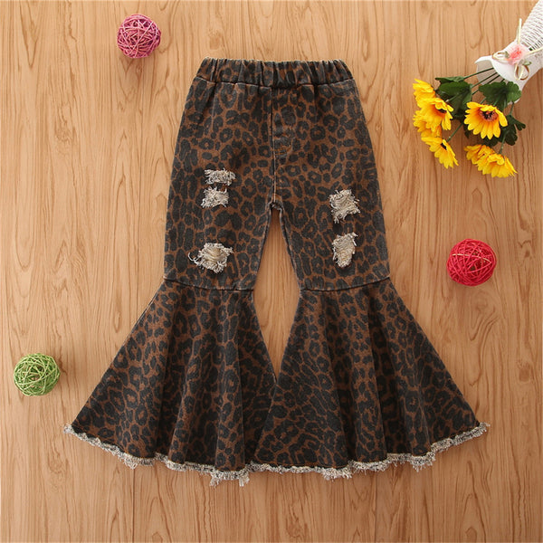 Girls Denim Leopard Flared Ripped Wide Leg Pants Wholesale