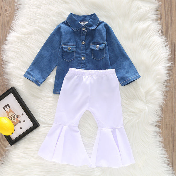 Girls Denim Long Sleeve Button Jacket & Flare Pants