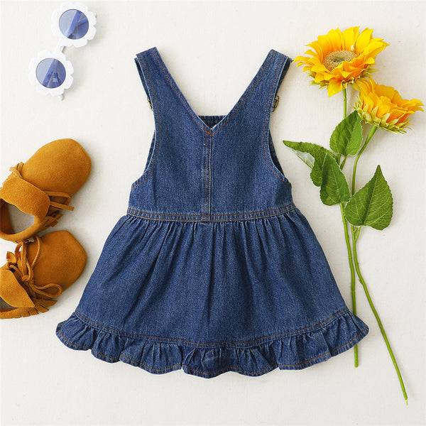 Baby Girls Denim Rainbow Embroidery Stylish Suspender Dress Wholesale Baby Boutique Items