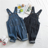Boys Denim Solid Casual Jumpsuits