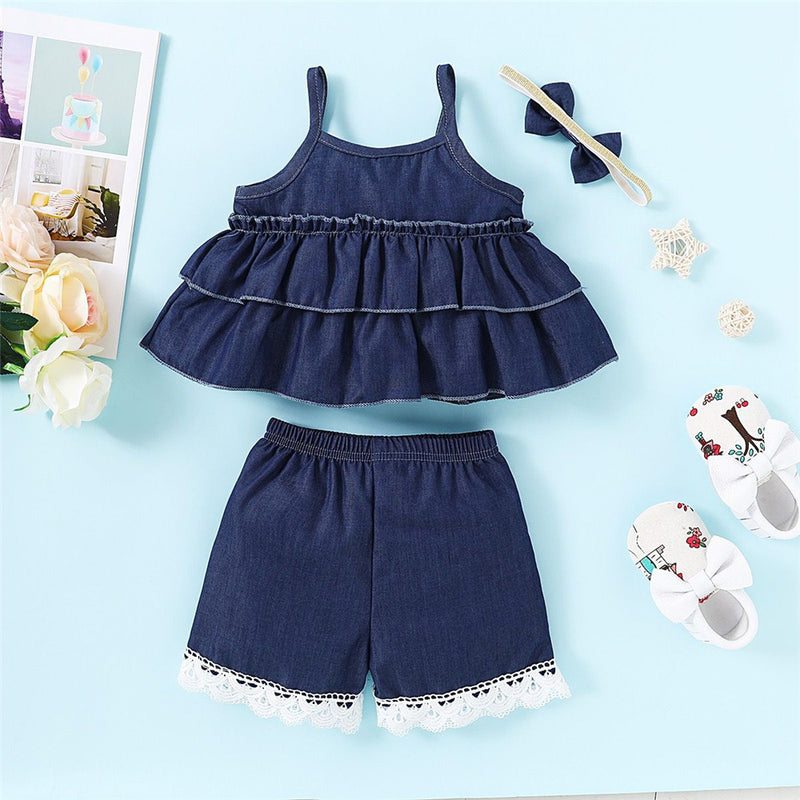 Girls Denim Solid Color Bow Decor Tank Top & Shorts Wholesale Little Girl Clothing