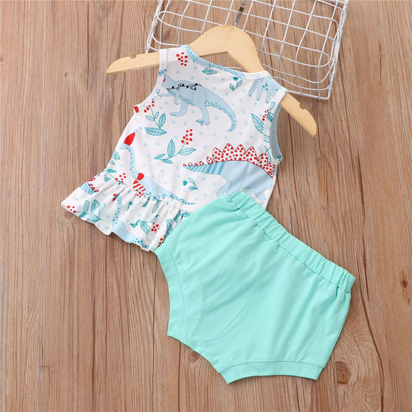 Baby Girls Dinosaur Animal Printed Sleeve Top & Shorts baby wholesale clothing