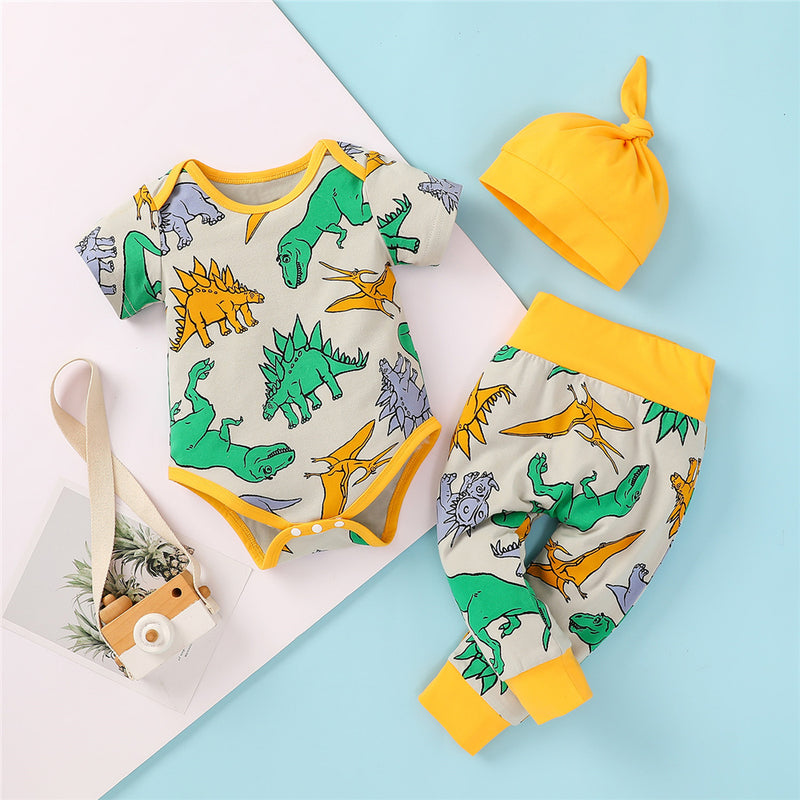 Baby Boys Dinosaur Animal Short Sleeve Romper & Pants & Hat baby clothes wholesale usa