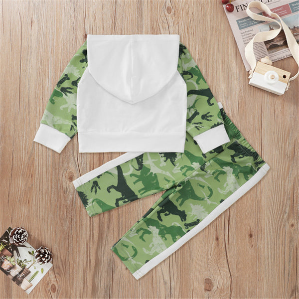 Baby Boys Dinosaur Camo Hooded Long Sleeve Top & Pants Wholesale Baby