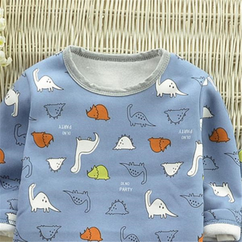 Boys Dinosaur Cartoon Printed Long Sleeve Tops & Pants