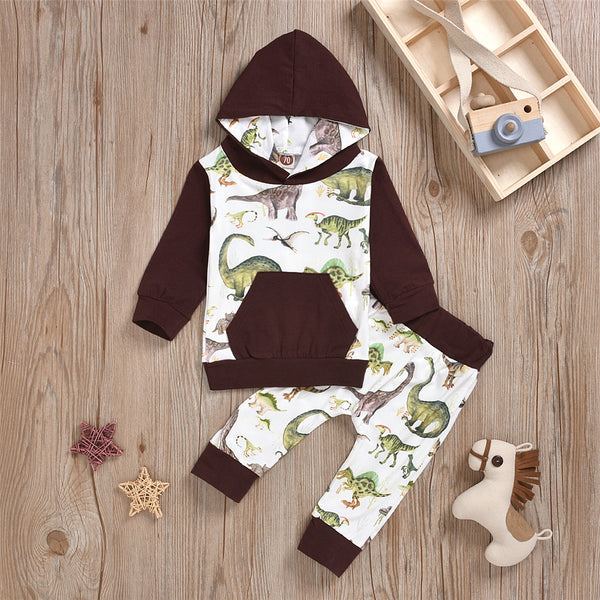 Baby Boys Dinosaur Hooded Top & Pants Baby Clothes Warehouses