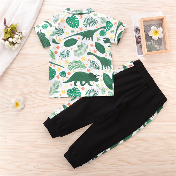 Boys Dinosaur Leaf Printed Short Sleeve Button Top & Pants wholesale childrens clothing