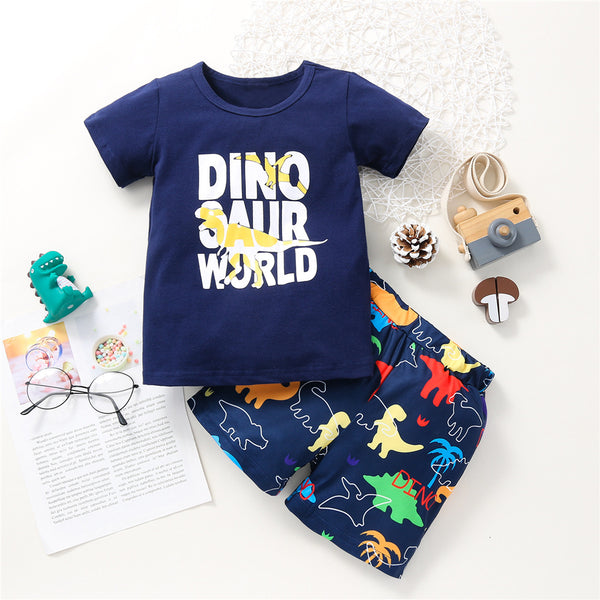 Boys Dinosaur Letter Printed Short Sleeve T-shirt & Shorts wholesale kids boutique clothing