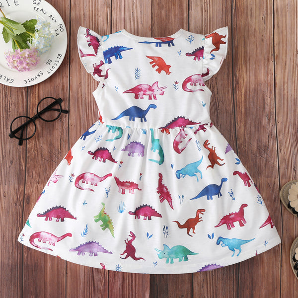 Girls Dinosaur Printed Flying Sleeve Dress wholesale childrens clothing