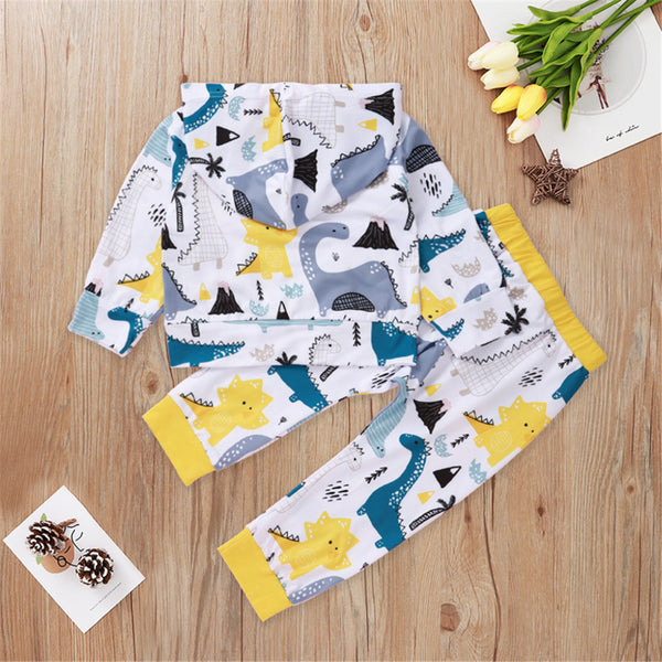 Baby Boys Dinosaur Printed Hooded Top & Pants Baby Clothes Vendors