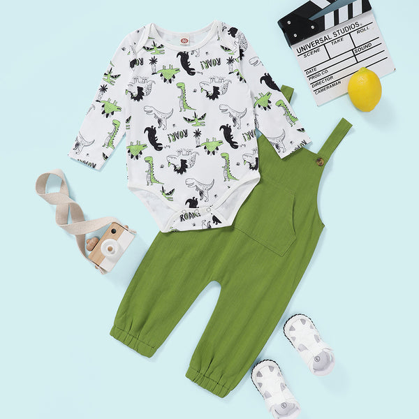 Baby Boys Dinosaur Printed Long Sleeve Romper & Solid Jumpsuit Wholesale Clothing Baby